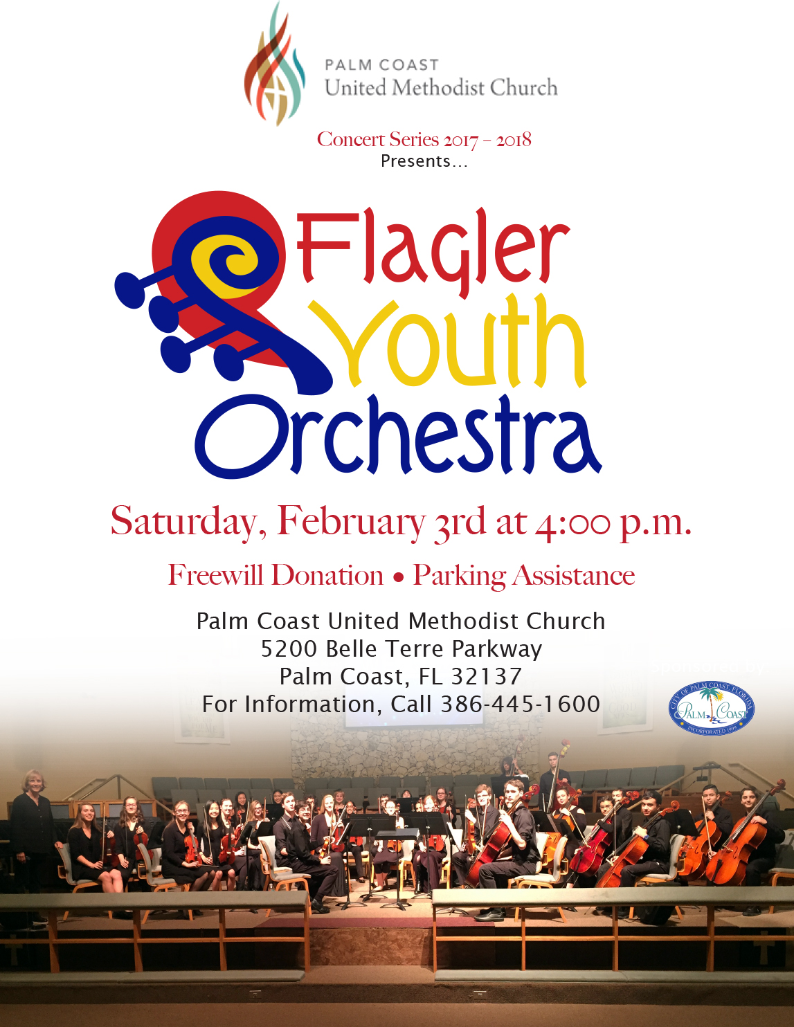 Saturday, February 3, 2018: Harmony Chamber Orchestra Performs in the Palm Coast United Methodist Church's Youth Music Festival